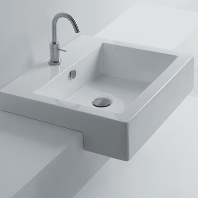 Whitestone Ceramic Square Drop-In Bathroom Sink with Overflow