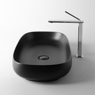 Seed Oval Vessel Bathroom Sink Sink Finish: Matte Black