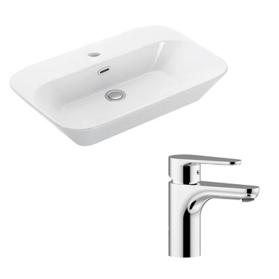 Edge Ceramic U-Shaped Vessel Bathroom Sink with Overflow
