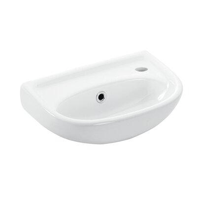 Basic Ceramic 16 Wall Mount Bathroom Sink with Overflow