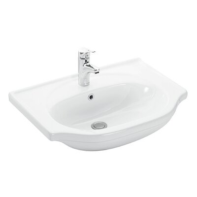 Basic Ceramic 27 Wall Mount Bathroom Sink with Overflow