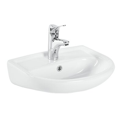 Basic Ceramic 19 Wall Mount Bathroom Sink with Overflow