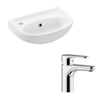 Basic Ceramic 16 Wall Mount Bathroom Sink with Faucet and Overflow