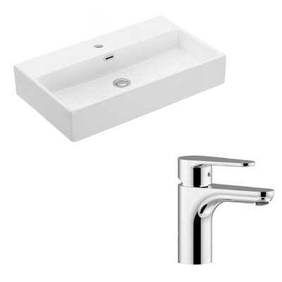 Quattro Ceramic 28 Wall Mount Bathroom Sink with Faucet and Overflow