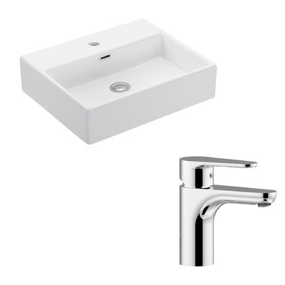 Quattro Ceramic 20 Wall Mount Bathroom Sink with Faucet and Overflow
