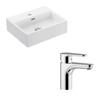 Quattro Ceramic 17 Wall mountedBathroom Sink with Overflow