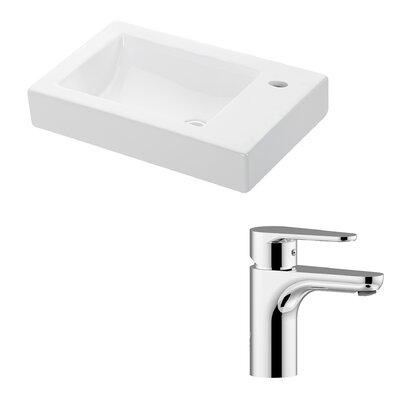 Minimal Ceramic Ceramic Rectangular Vessel Bathroom Sink with Faucet