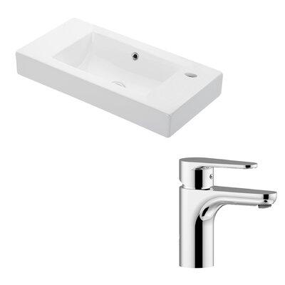 Minimal Ceramic Rectangular Vessel Bathroom Sink with Overflow