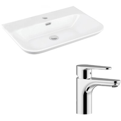 Edge Ceramic Ceramic U-Shaped Vessel Bathroom Sink with Faucet and Overflow