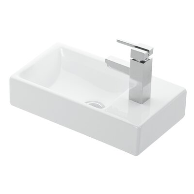 Minimal Ceramic Ceramic Rectangular Vessel Bathroom Sink