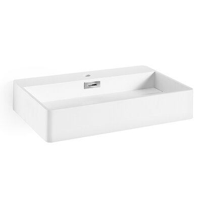 Momon Stone Rectangular Vessel Bathroom Sink with Overflow