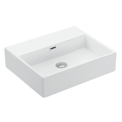 Quattro Ceramic Ceramic Rectangular Vessel Bathroom Sink with Overflow
