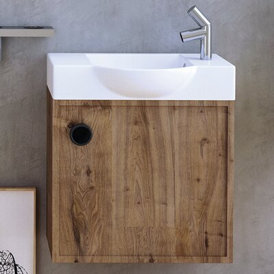 Minimal Ceramic 22 Wall Mount Bathroom Sink with Overflow