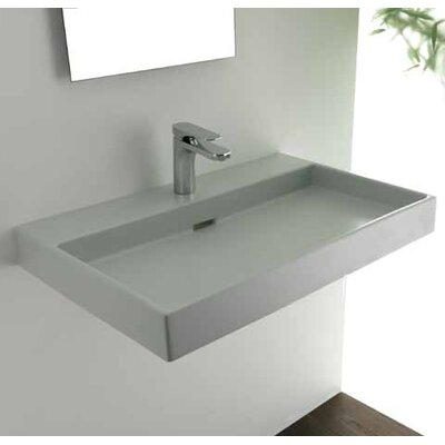 Ceramica I Urban Ceramic  Rectangular Vessel Bathroom Sink with Overflow Faucet Mount: Single Hole