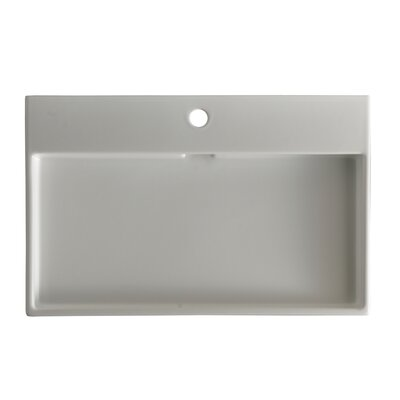 Ceramica I Urban Ceramic 39.5 Wall Mount Bathroom Sink with Overflow Faucet Mount: Single Hole