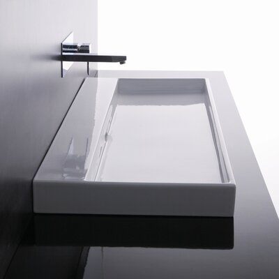 Ceramica I Urban Ceramic  Rectangular Vessel Bathroom Sink with Overflow Faucet Mount: No Hole