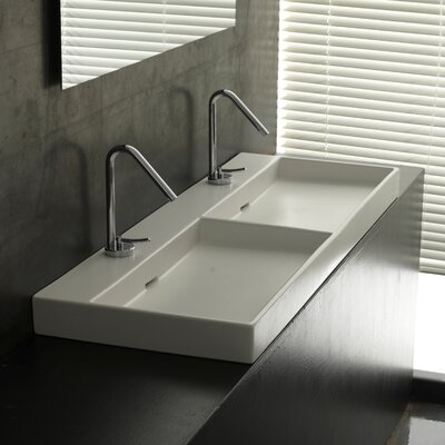 Ceramica I Urban Ceramic  Rectangular Vessel Bathroom Sink with Overflow Faucet Mount: Two Hole