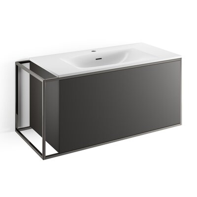Gerla 39 Single Bathroom Vanity Set Faucet Mount: With Faucet Hole, Base Finish: Matte Black