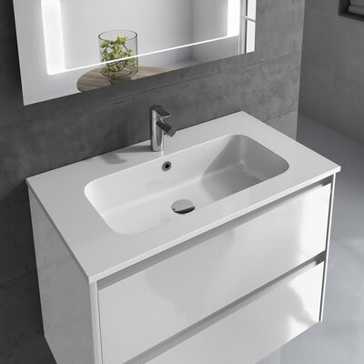 Ambra 32 Single Bathroom Vanity Set with Column and Mirror Base Finish: Gloss White