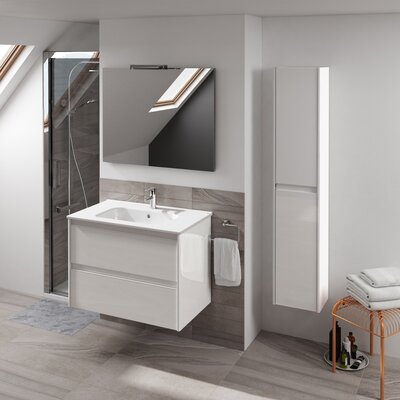 Ambra 24 Single Bathroom Vanity Set with Column and Mirror Base Finish: Gloss White