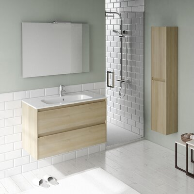 Ambra 32 Single Bathroom Vanity Set with Column and Mirror Base Finish: Nordic Oak
