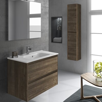 Ambra 24 Single Bathroom Vanity Set with Column and Mirror Base Finish: Samara Ash