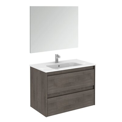 Ambra 32 Single Bathroom Vanity Set with Mirror Base Finish: Samara Ash