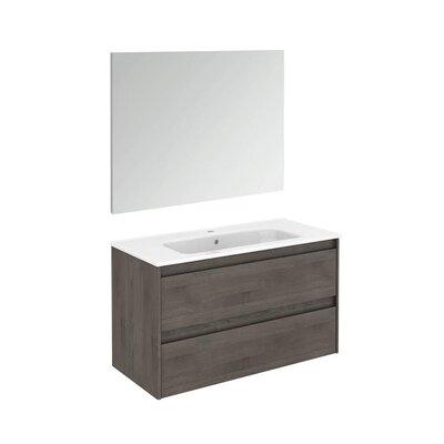 Ambra 40 Single Bathroom Vanity Set with Mirror Base Finish: Samara Ash