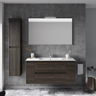Ambra 47 Single Bathroom Vanity Set with Mirror Base Finish: Samara Ash