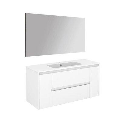 Ambra 47 Single Bathroom Vanity Set with Mirror Base Finish: Gloss White