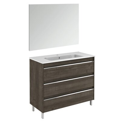 Belle 40 Single Bathroom Vanity Set with Mirror Base Finish: Samara Ash