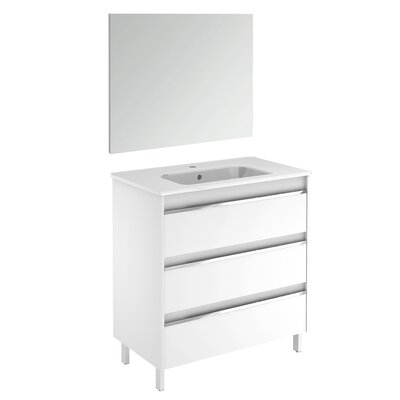 Belle 32 Single Bathroom Vanity Set with Mirror Base Finish: Gloss White