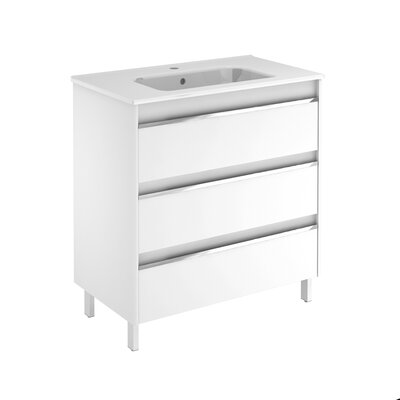 Belle 32 Single Bathroom Vanity Set Base Finish: Gloss White