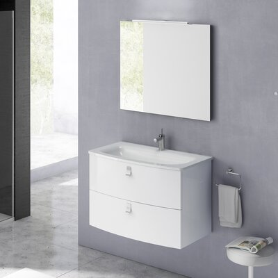 Rondo 32 Single Bathroom Vanity Set with Mirror Base Finish: Gloss White
