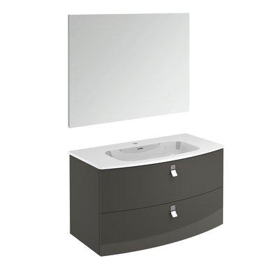 Rondo 39 Single Bathroom Vanity Set with Mirror Base Finish: Anthracite