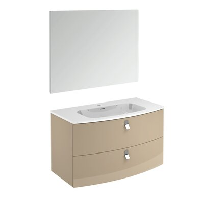 Rondo 39 Single Bathroom Vanity Set with Mirror Base Finish: Taupe