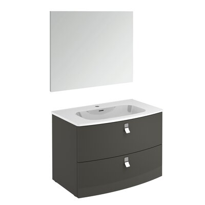 Rondo 32 Single Bathroom Vanity Set with Mirror Base Finish: Anthracite