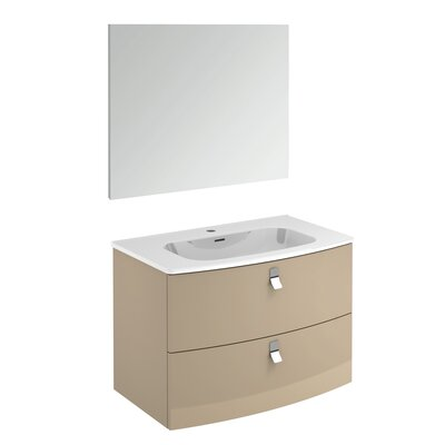 Rondo 32 Single Bathroom Vanity Set with Mirror Base Finish: Taupe