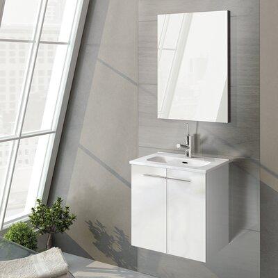 Start 20 Single Bathroom Vanity Set with Mirror Base Finish: Gloss White