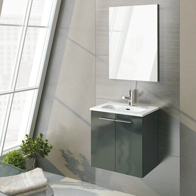 Start 20 Single Bathroom Vanity Set with Mirror Base Finish: Anthracite