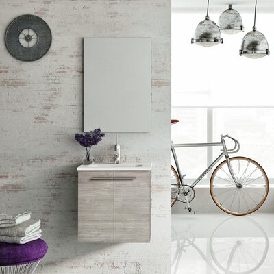 Start 20 Single Bathroom Vanity Set with Mirror Base Finish: Sandy Grey