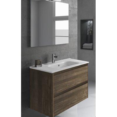 Ambra 24 Single Bathroom Vanity Set with Mirror Base Finish: Samara Ash