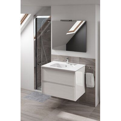 Ambra 40 Single Bathroom Vanity Set with Mirror Base Finish: Gloss White