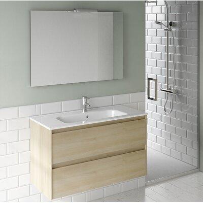 Ambra 40 Single Bathroom Vanity Set with Mirror Base Finish: Nordic Oak