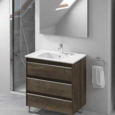 Belle 32 Single Bathroom Vanity Set with Mirror Base Finish: Samara Ash