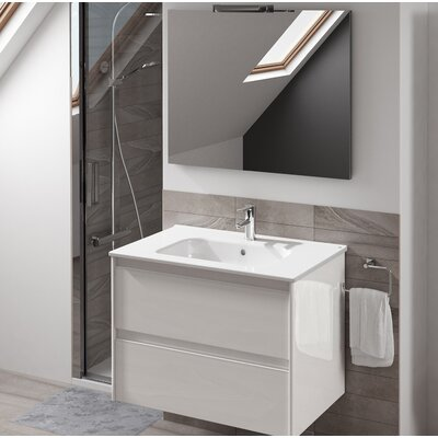 Ambra 24 Single Bathroom Vanity Set with Mirror Base Finish: Gloss White