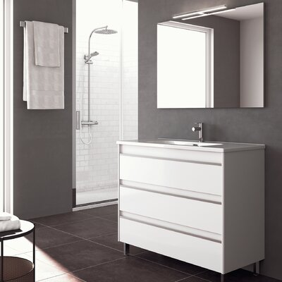 Belle 40 Single Bathroom Vanity Set with Mirror Base Finish: Gloss White
