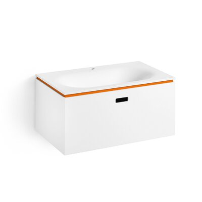 Linea Ciacole 28 Single Wall Mounted Bathroom Vanity Set Base Finish: White / Orange