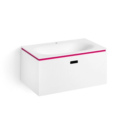 Linea Ciacole 28 Single Wall Mounted Bathroom Vanity Set Base Finish: White /  Fuchsia