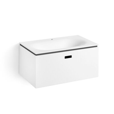 Linea Ciacole 28 Single Wall Mounted Bathroom Vanity Set Base Finish: White /  Dark Grey